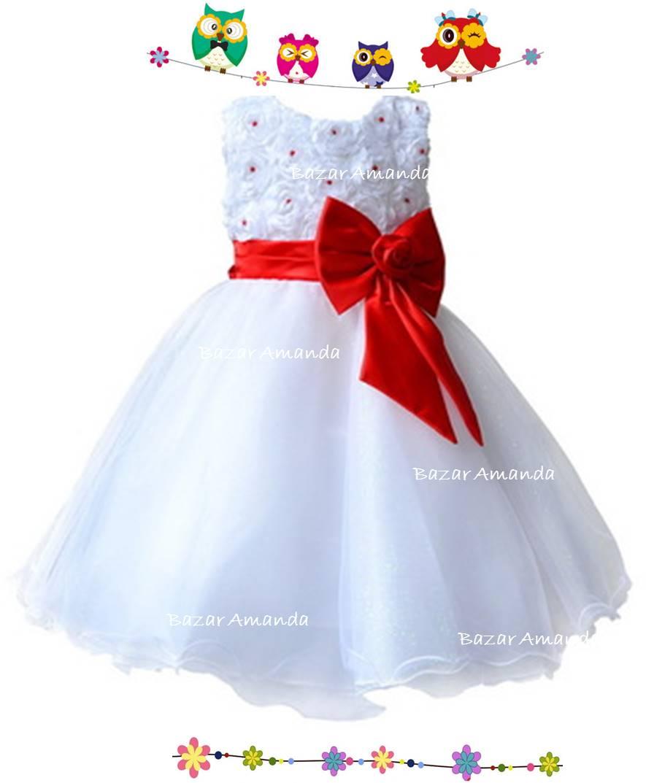 Vestidos de bautizo blanco con rojo